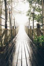 wet swinging bridge
