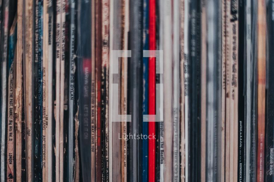 row of vinyl records