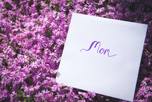 mom sign in purple flowers