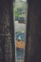 looking down through a cracked door
