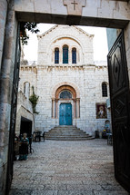 courtyard to an ancient church in the holy land