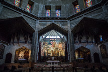 interior of an ancient historic church in the holy land
