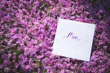 mom sign in pink flowers