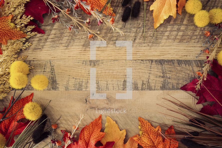 wood background with fall leaves border.