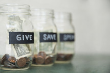 Give, Save, Spend money jars