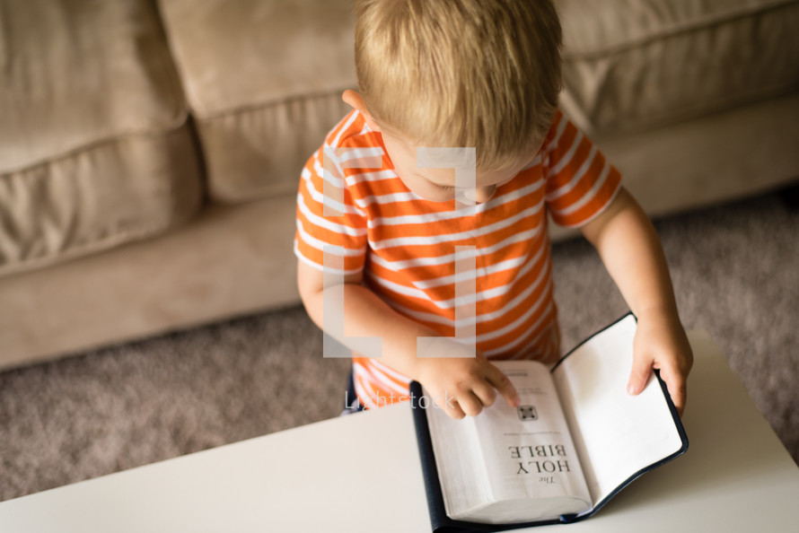a toddler boy reading a Bible