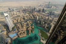 looking down at pools in Dubai