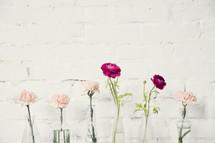 row of flowers in vases