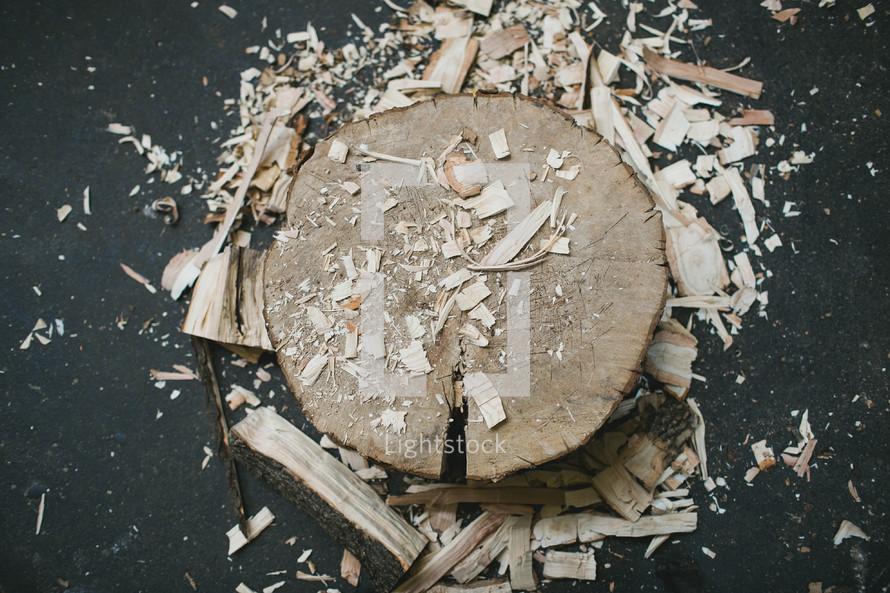 wood shavings and cut wood