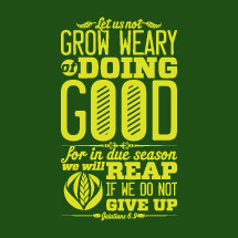 let us not grow weary of doing good for in due season we will reap if we do not give up, Galatians 6:9