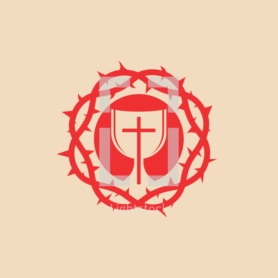 communion, crown of thorns, cross, red, icon