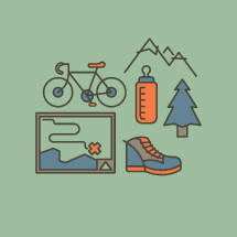 hand drawn hiking icons