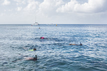 snorkeling in the Caribbean Sea at Cozumel Mexico