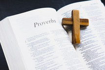 small wooden cross on the pages of a Bible