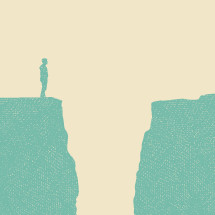 Illustration of a man on a cliff and gap.
