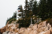 lighthouse on a rugged rocky cliff