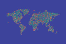 abstract world map made up of colorful dots.