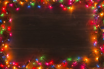 colorful Christmas lights border background.
