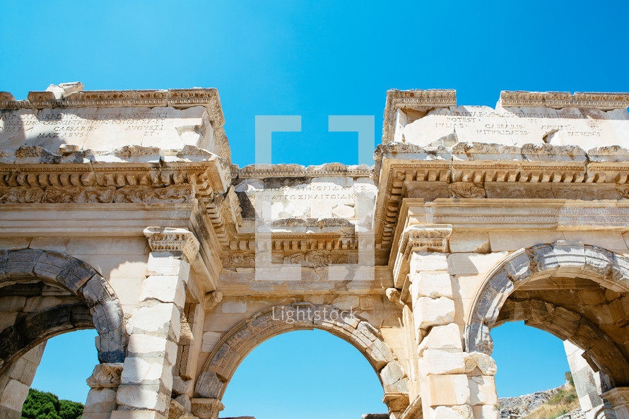architectural detail on the arches of an historic building