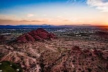 desert landscape and distant suburbs