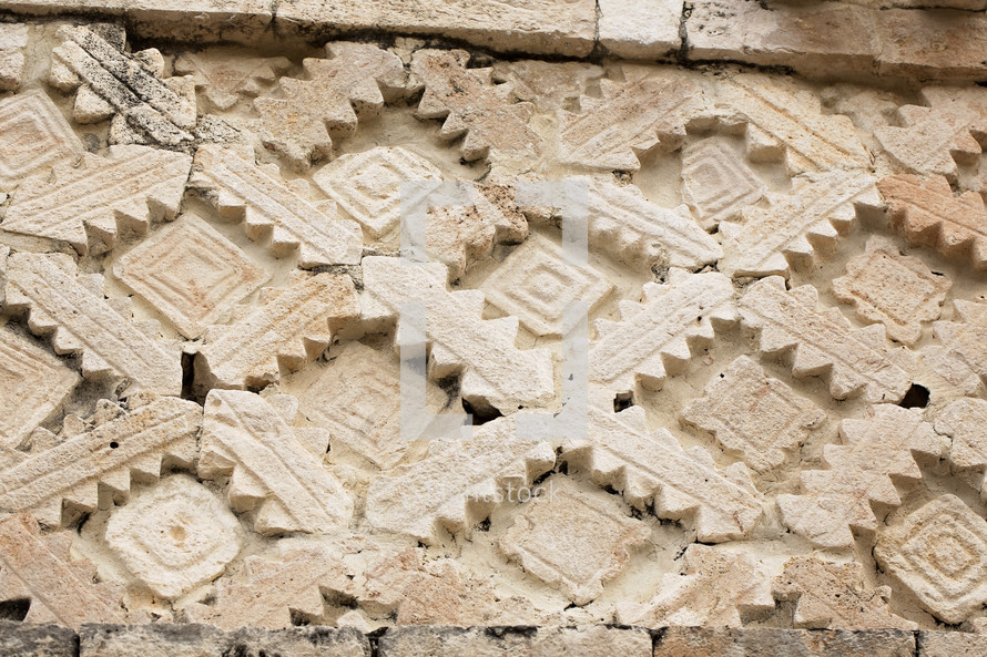 detail of Uxmal Mayan Ruins at Yucatan Mexico