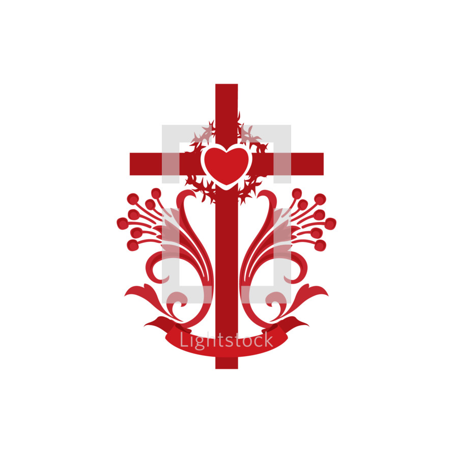 cross, lilies, heart, red, icon, crown of thorns