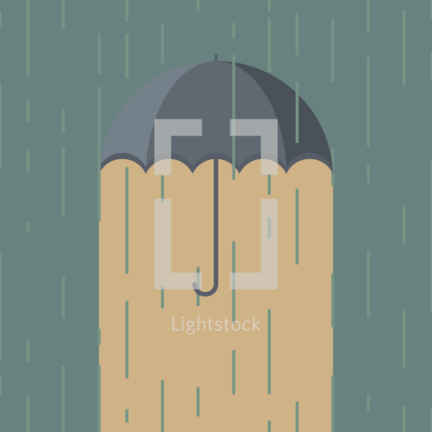 illustration of an umbrella protecting from the rain.