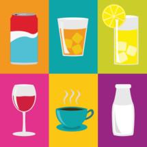 drinks, icons, wine, coffee, milk, lemonade, soda, aluminum can, steam, tea, glass, lemon