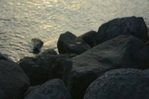 moving water and rocks along a shoreline