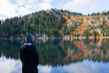 person standing on the shore of Summit Lake