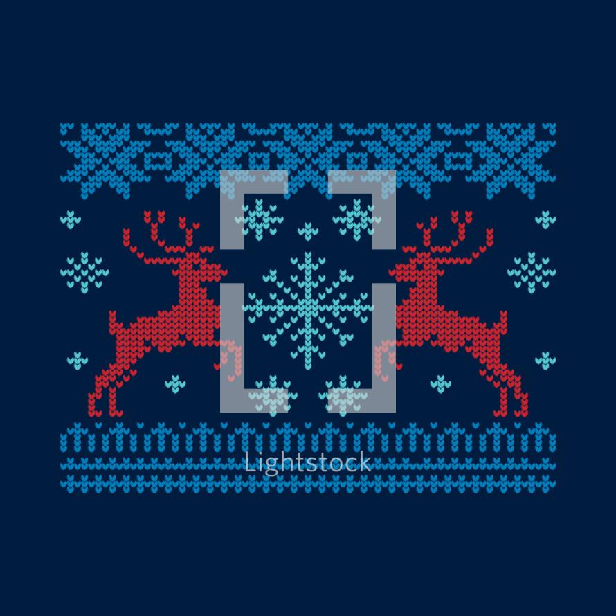 winter scene of cross stitch hearts
