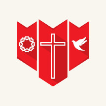 shield, banner, cross, red, white, crown of thorns, dove, icon