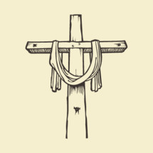 hand drawn cross with shroud