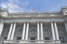 Washington DC building with American flag