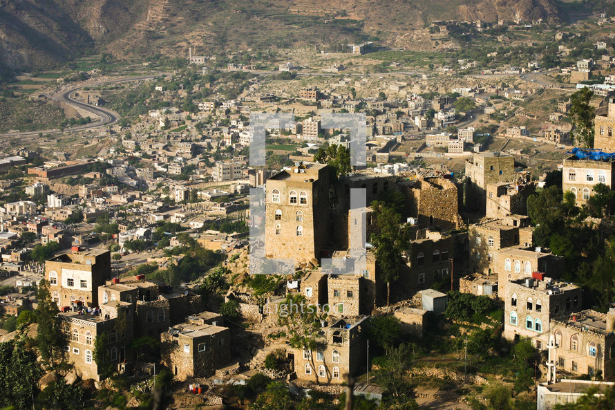 aerial view over a city in Yemen