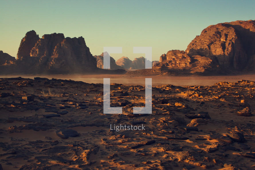 red rock mountains and cliffs and desert in Jordan