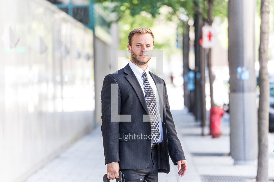 portrait of a businessman with a briefcase