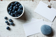 blueberries and blank notecards