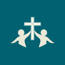 silhouettes of people holding up a cross