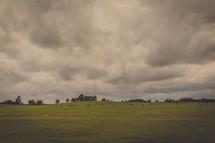 Stormy sky over a grassy plain.