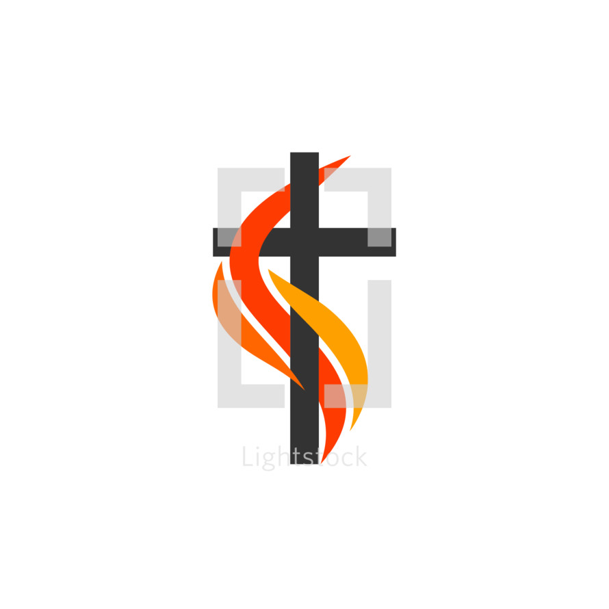 Christian symbols. The logo of the church. The cross of Jesus, the flame of fire as a symbol of the Holy Spirit.