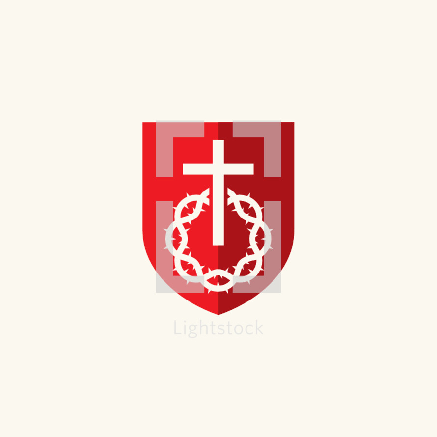shield, crown of thorns, cross, white, red