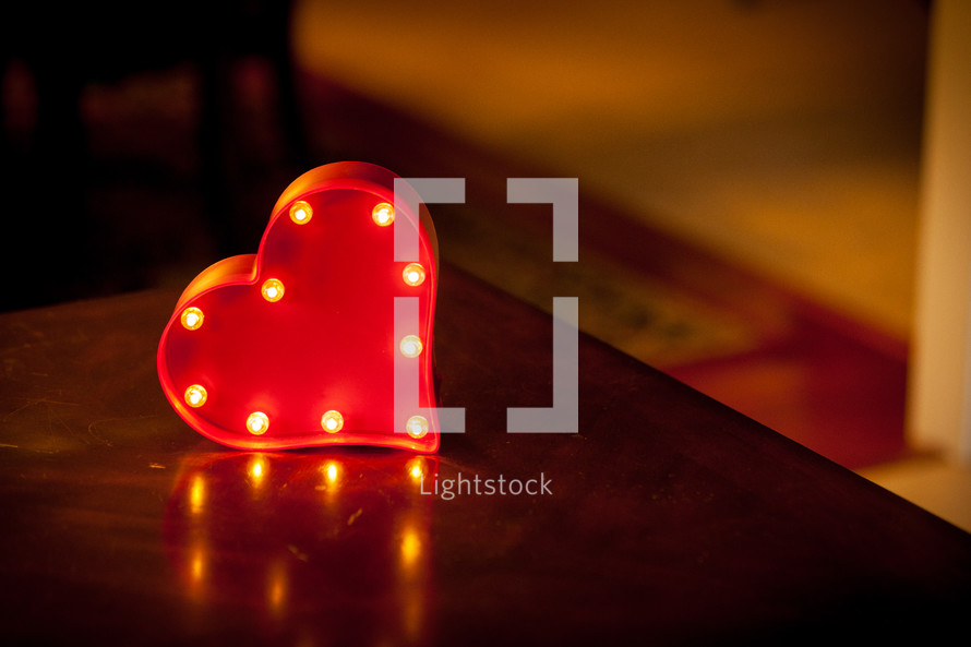a heart with lights