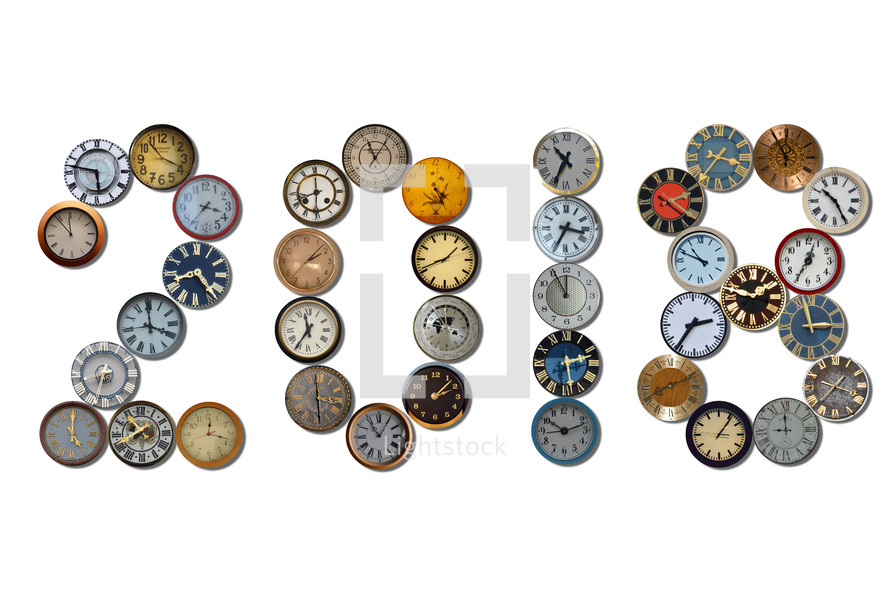 2018 spelled out with different clocks.