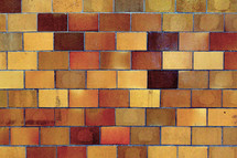 Glazed clay tiles on the wall in the school gymnasium.