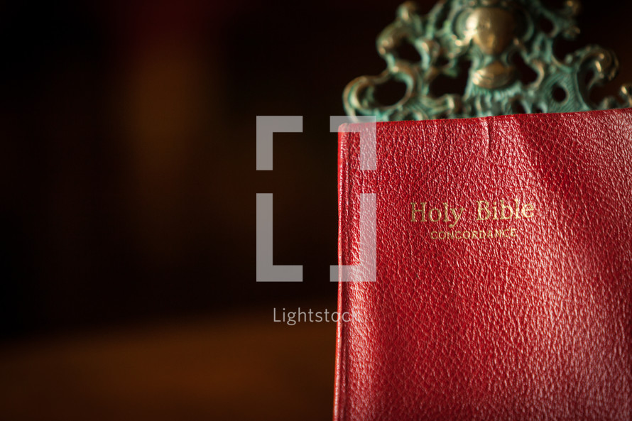 a Bible on a stand