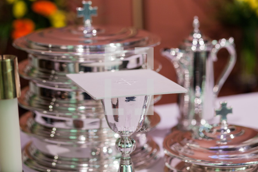 communion elements at the altar