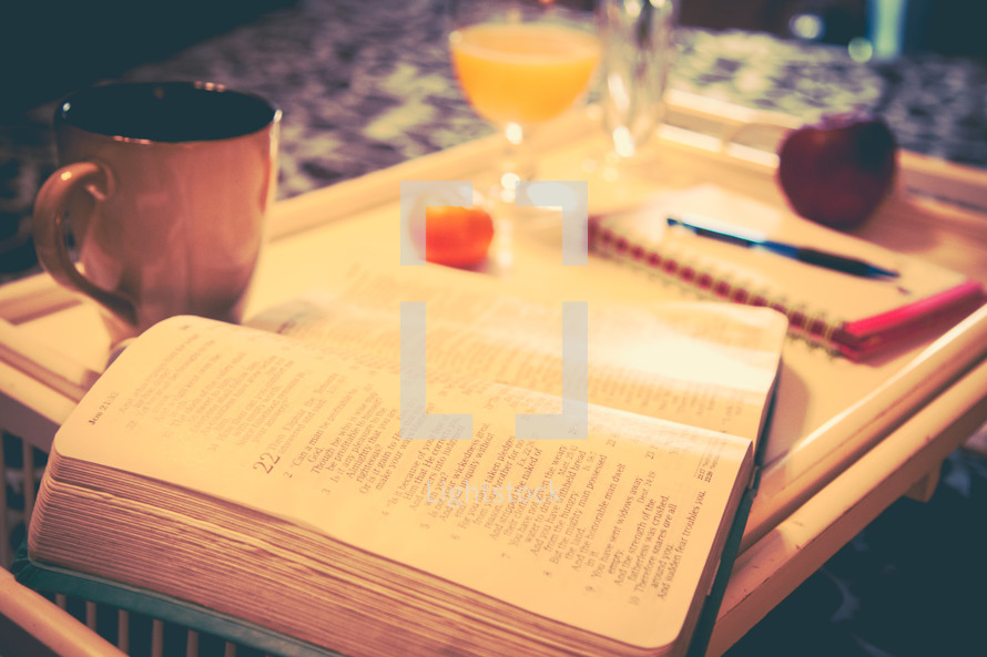 A Bible and breakfast in bed