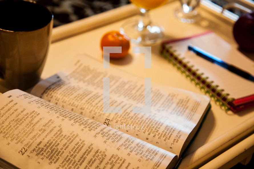 Breakfast in bed and morning devotional