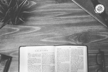 Galatians, open Bible, Bible, pages, reading glasses, wood table